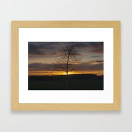 Sunset at the end of town Framed Art Print