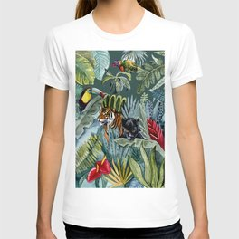 Jungle with tiger and tucan T-shirt