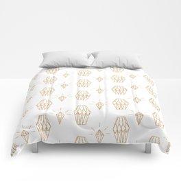 White gold faux glitter elegant diamond geometrical Comforters