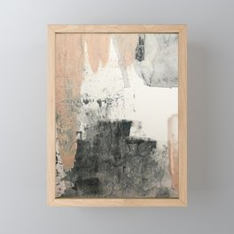 Peace and Quiet [1]: a pretty, minimal abstract piece in gray and peach by Alyssa Hamilton Art Framed Mini Art Print