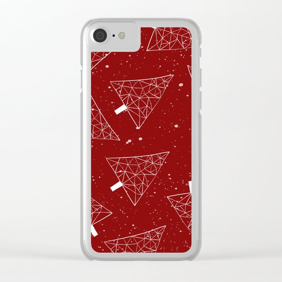 Christmas Trees Red Clear iPhone Case