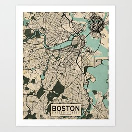 Boston City Map of the United States - Vintage Art Print