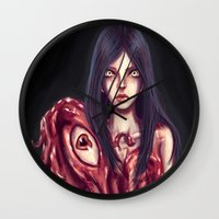 in the flesh Wall Clocks featuring Flesh Maiden by pandatails