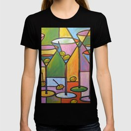 Abstract Art Wine Bar Alcohol Painting ... Martinis and Olives T-shirt