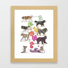 Dogs with Balloons Framed Art Print