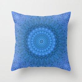 Sunflower Feather Bohemian Cool Blue Pattern \\ Aesthetic Vintage \\ Ice Snow Aqua Color Scheme Throw Pillow