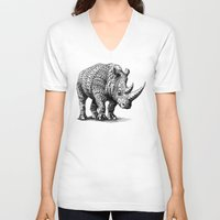 bioworkz V-neck T-shirts featuring Rhinoceros by BIOWORKZ
