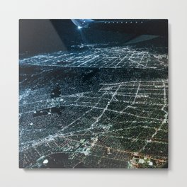 Night Flight out of Los Angeles Blue Metal Print