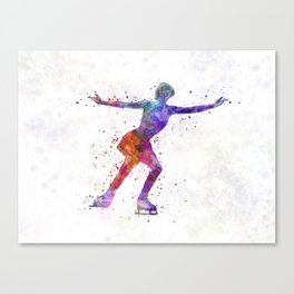 Figure skating 1 in watercolor with splatters Canvas Print