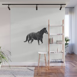 Running Horse in Black and White Wall Mural
