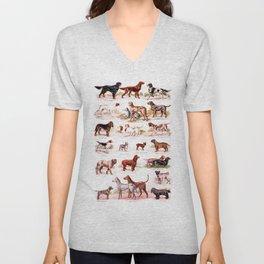 vintage dog breed chart  Unisex V-Neck