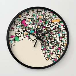 Colorful City Maps: Melbourne, Australia Wall Clock