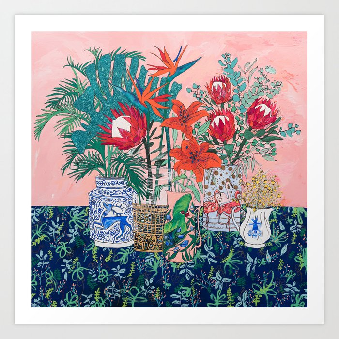 The Domesticated Jungle - Floral Still Life Art Print