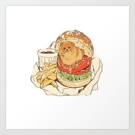 dog in hamburger Art Print