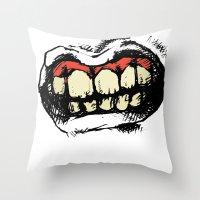 teeth Throw Pillows featuring TEETH! by Helena Bowie Banshees