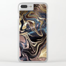 Liquid Gold Marble Clear iPhone Case