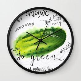 Watercolor cucumber Wall Clock