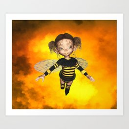 Little Bee Girl Golden Clouds Art Print