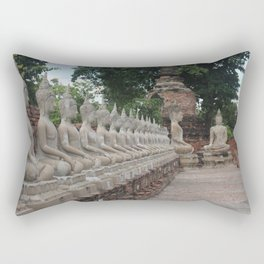 Buddha statues at Wat Yai Chai Mongkhon Rectangular Pillow