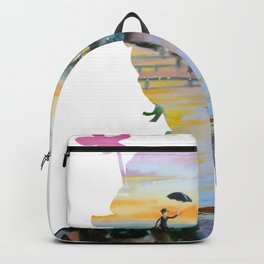 Mary Poppins flying above London Backpack