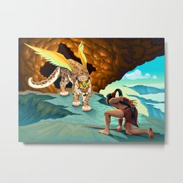 Elf is dealing with a winged lynx Metal Print