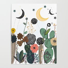 Succulents, moon and stars pattern Poster