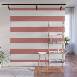 Camellia Pink and White Wide Horizontal Sailor Stripes Wall Mural