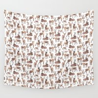reindeer Wall Tapestries featuring Christmas Reindeer.  by Elena O'Neill
