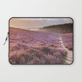 II - Path through blooming heather at sunrise, Posbank, The Netherlands Laptop Sleeve