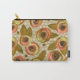 Painted Peonies - Gold & Peach Carry-All Pouch