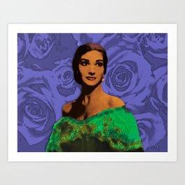 Maria Callas Stenciled Indigo Art Print