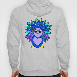 Drawn by hand a Friendly and funny little peacock for children and adults Hoody