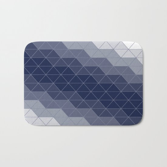 Indigo Navy Blue Triangles Bath Mat
