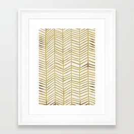 Gold Herringbone Framed Art Print