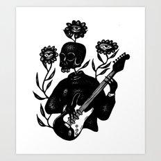 Skeleton Lady Plays the Blues Art Print