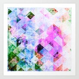 Pink/Blue Geometric Grungy Diamond Pattern Art Print
