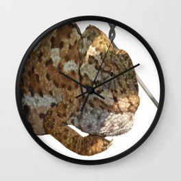 Chameleon Hanging On A Wire Fence Vector Wall Clock