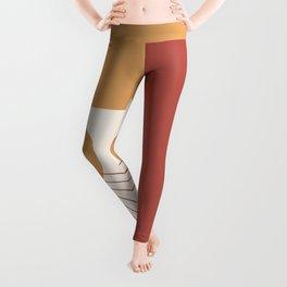 Mid Century Modern Geometric 36 in Terracotta Gold Beige Leggings