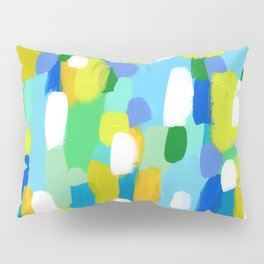 Meet Me In The Woods - green blue abstract painting white mint green brush lines pattern Pillow Sham
