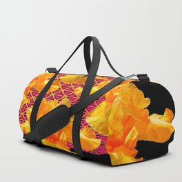 Golden Spring Iris Patterned Black  Decor Duffle Bag
