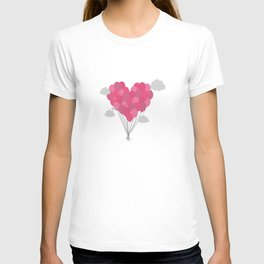 Balloons arranged as heart T-shirt