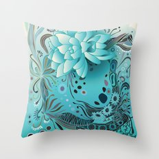 Subsea floral Throw Pillow