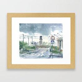 Level crossing in Radomsk Framed Art Print