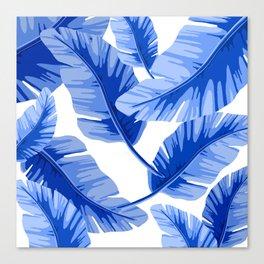 Blue Tropical Leaves Print Canvas Print