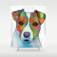jack russell Shower Curtains featuring Jack Russell Dog by Marlene Watson