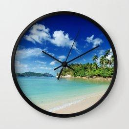 Tropical island summer ocean beach palm trees summer vacation blue sky Wall Clock