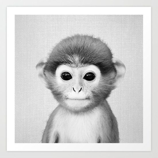 Baby Monkey - Black & White Art Print by galdesign | Society6