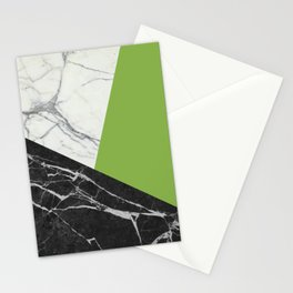 Black and White Marble with Pantone Greenery Stationery Cards