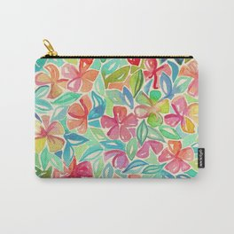 Tropical Floral Watercolor Painting Carry-All Pouch