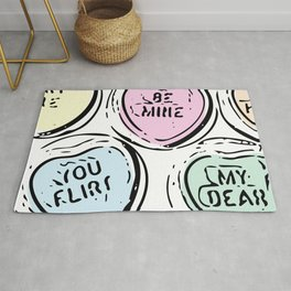 Be Mine Heart Candy in Pastels Rug
